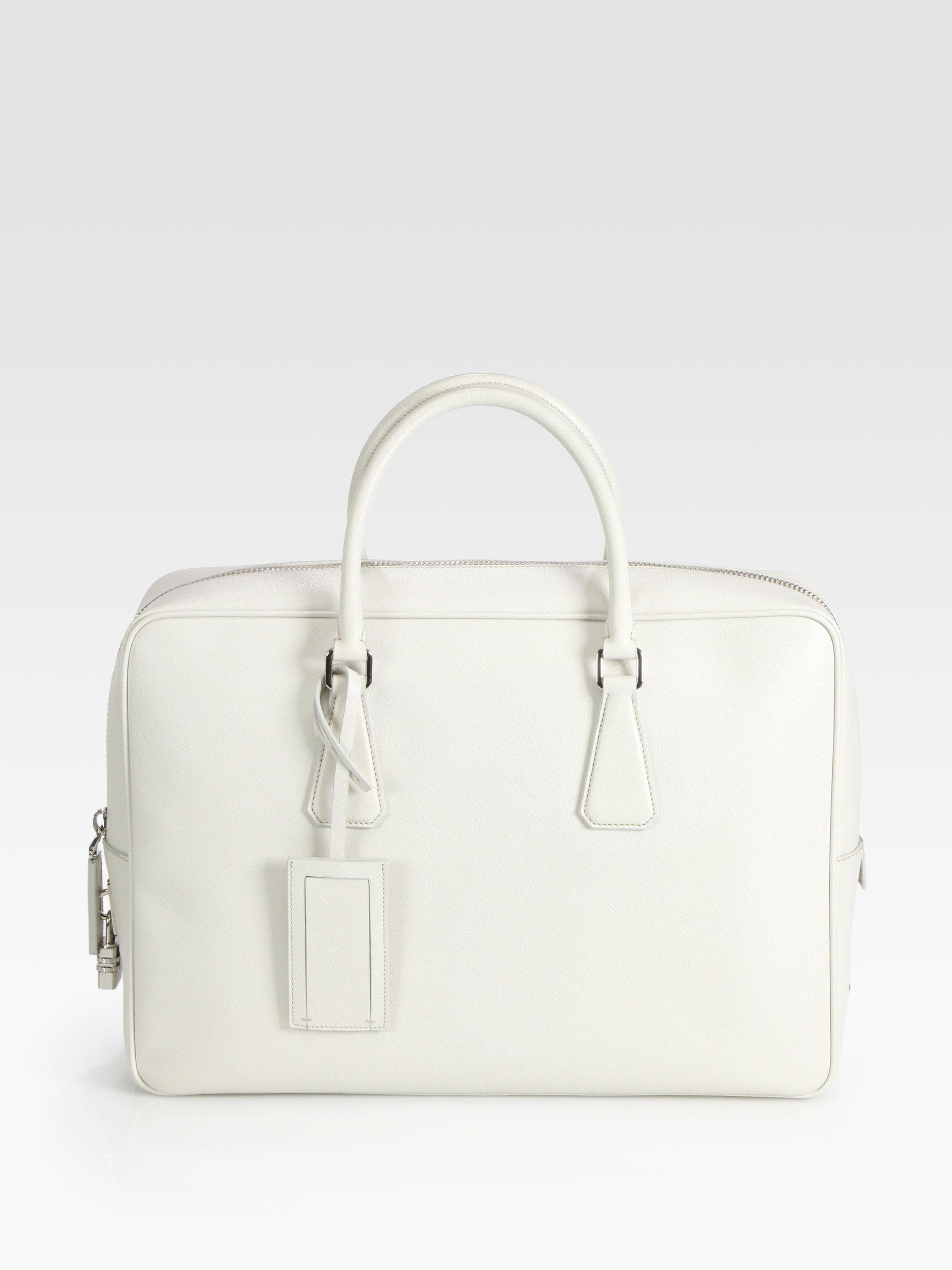 Prada Saffiano Leather Travel Bag in White for Men | Lyst