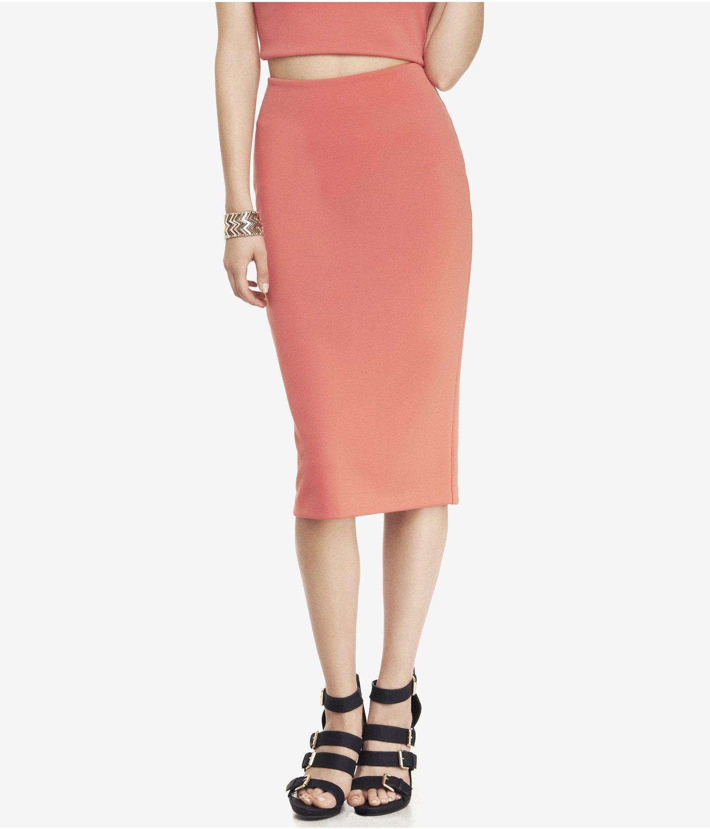 Express Coral High Waist Midi Pencil Skirt in Orange | Lyst