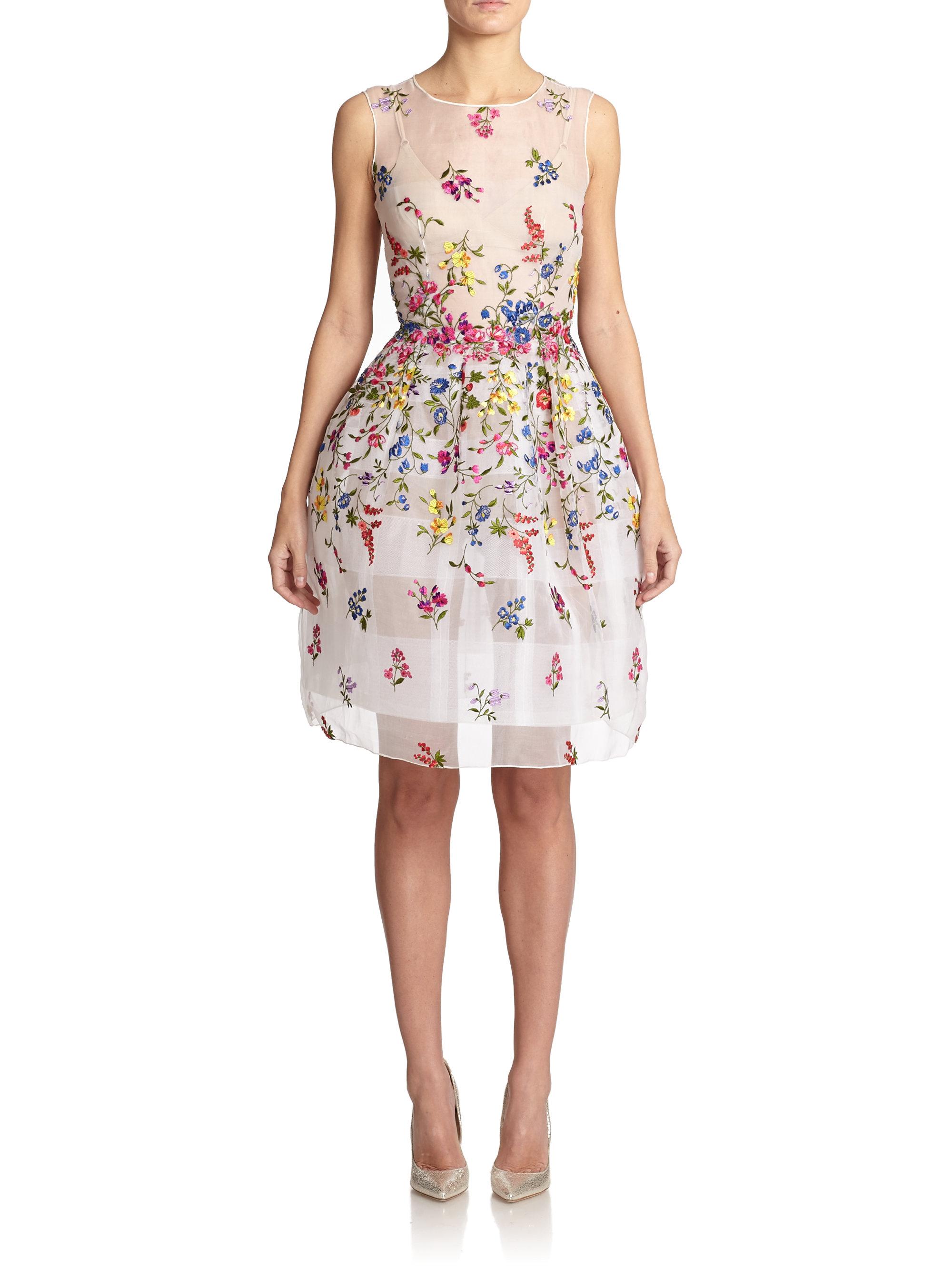 Oscar de la renta floral embroidered silk organza dress in