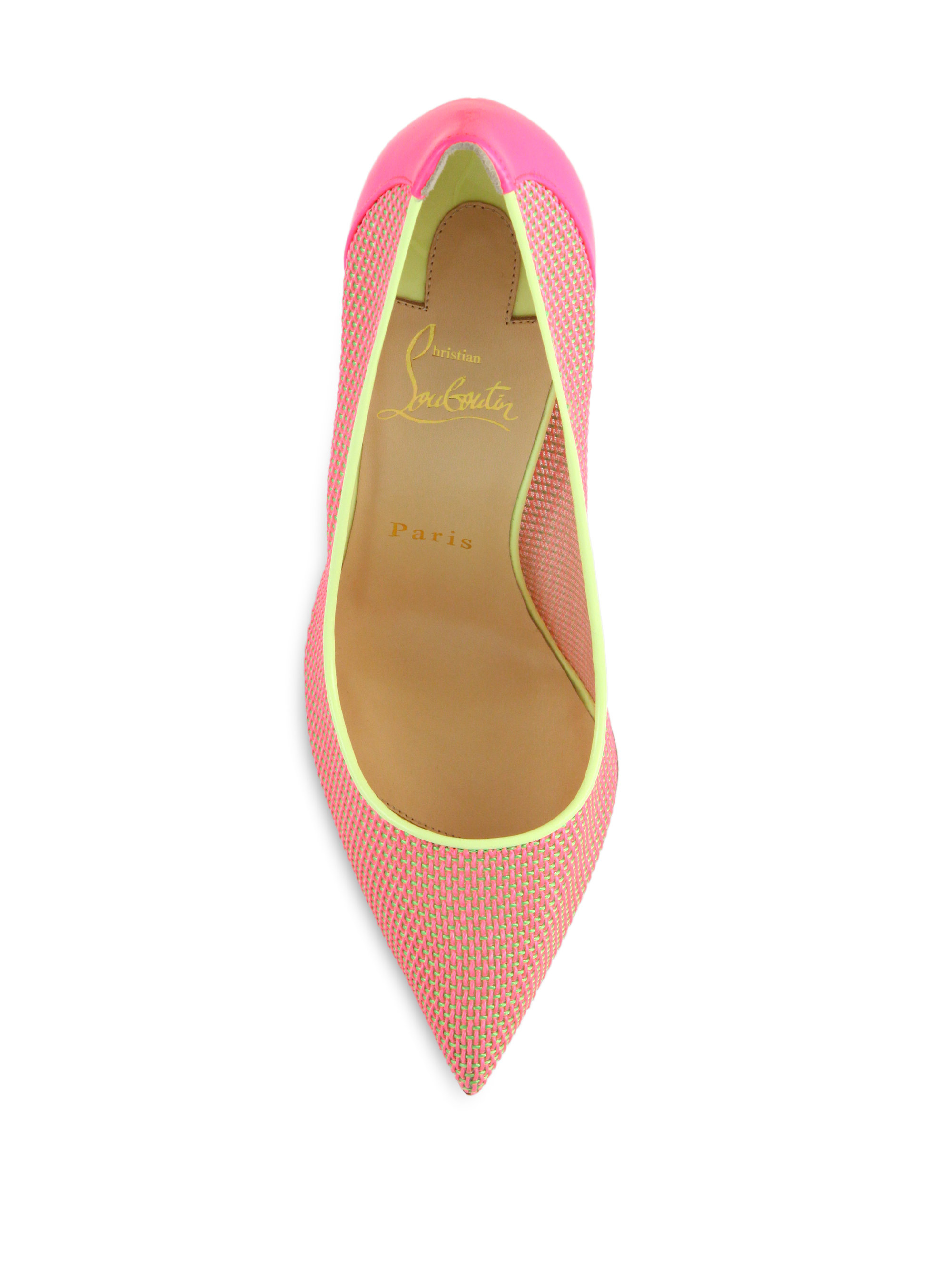 christian louboutin woven colorblocked pumps in pink lyst