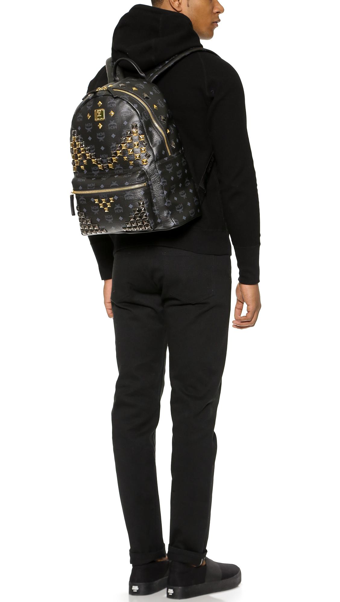 f1441a55b57 MCM M Studded Stark Backpack in Black for Men - Lyst