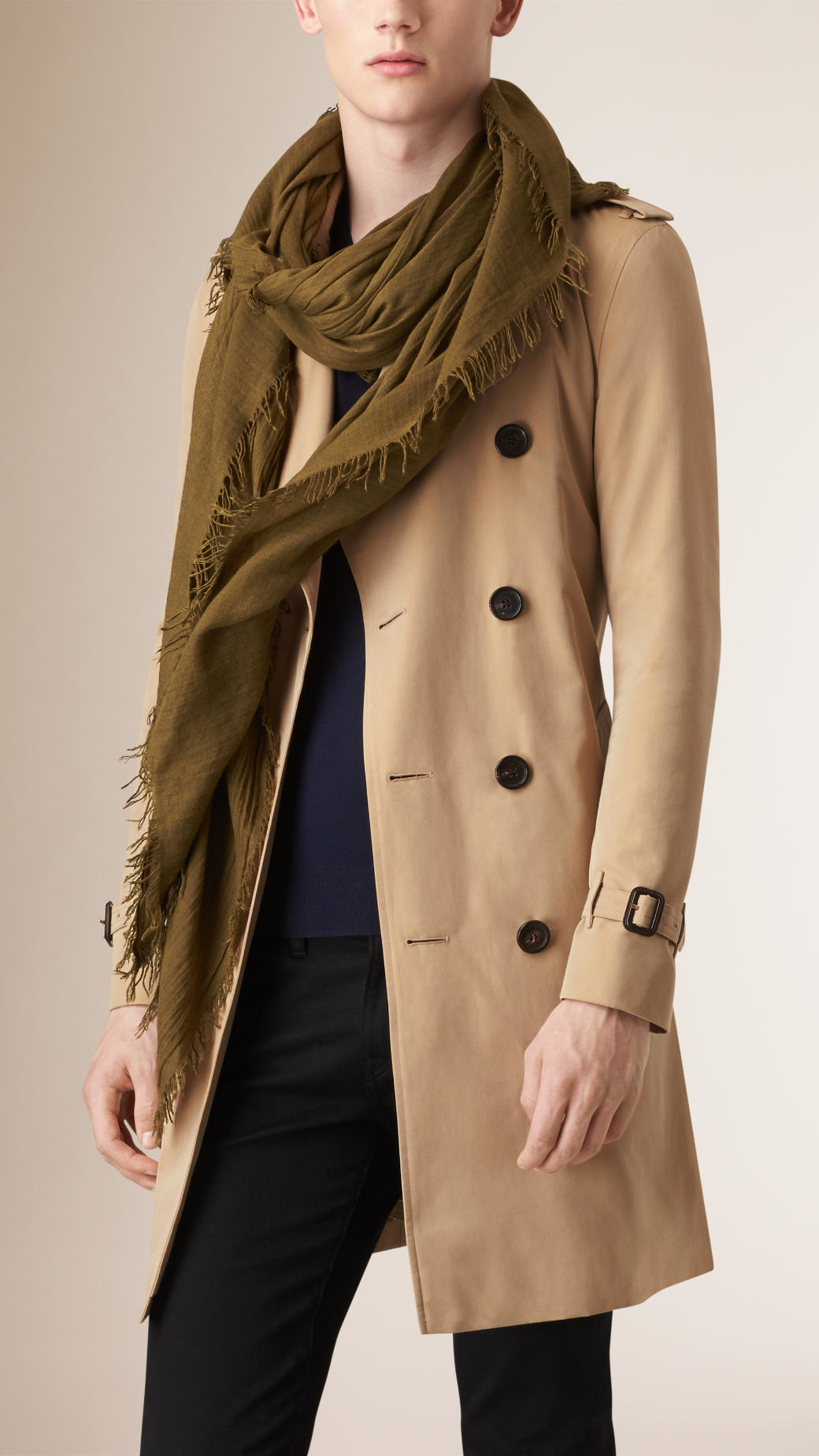 burberry crinkled modal wool scarf in brown lyst
