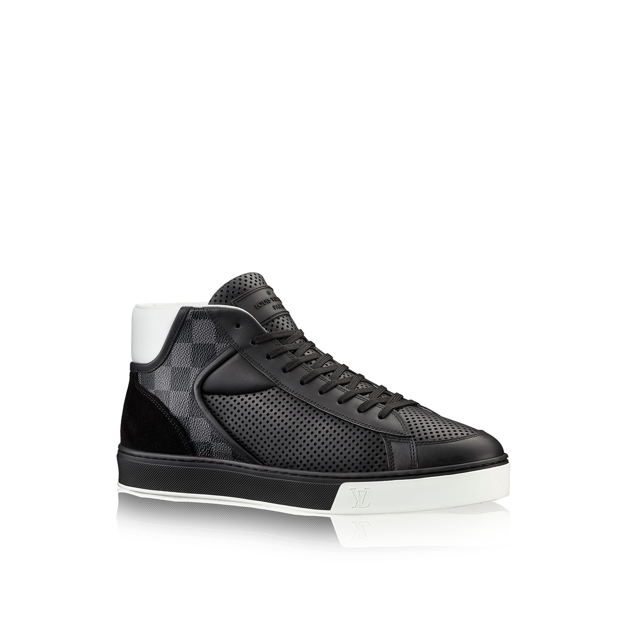 louis vuitton player sneaker boot in gray for lyst