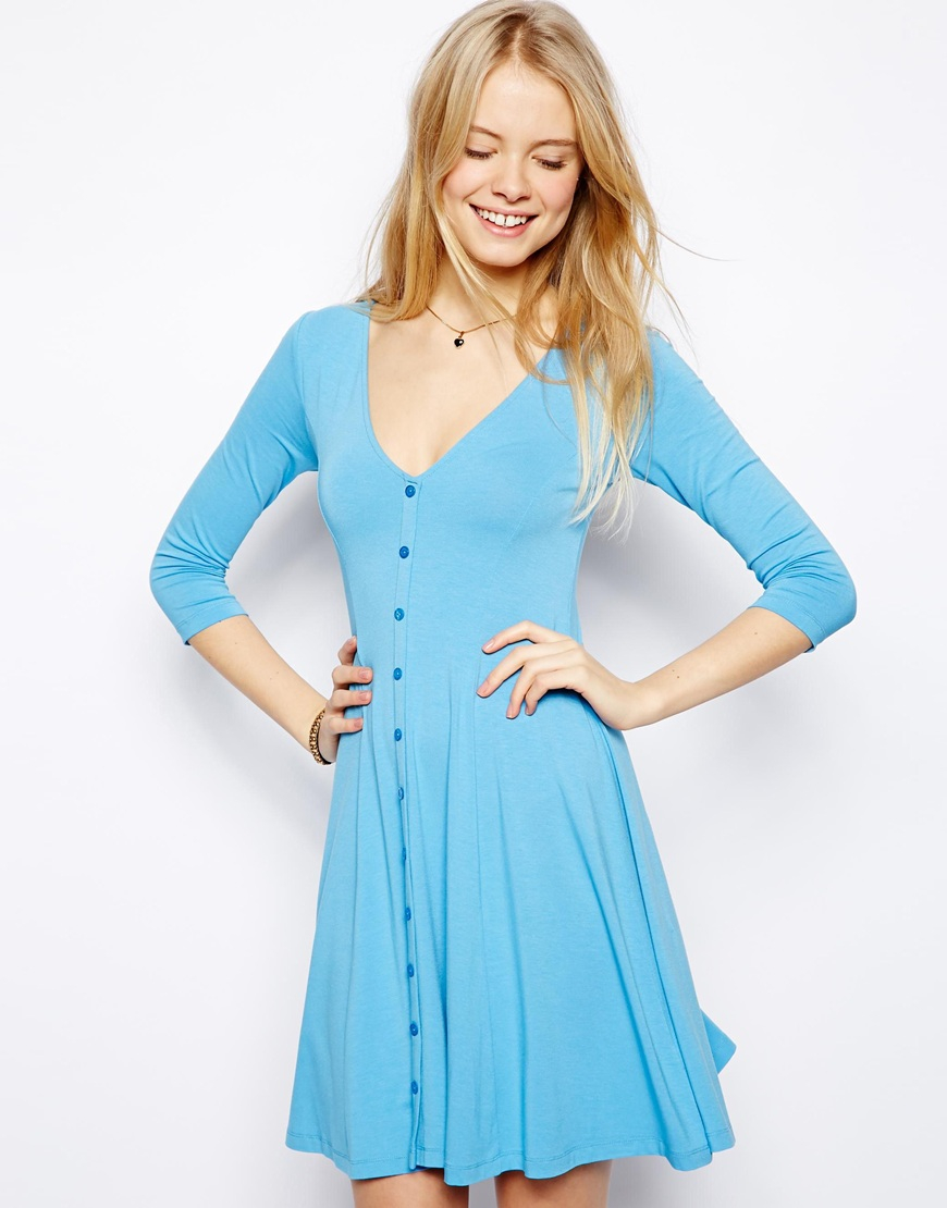 415cb85b25e5 Lyst - ASOS 90s Skater Dress with Buttons and 3 4 Sleeve in Blue