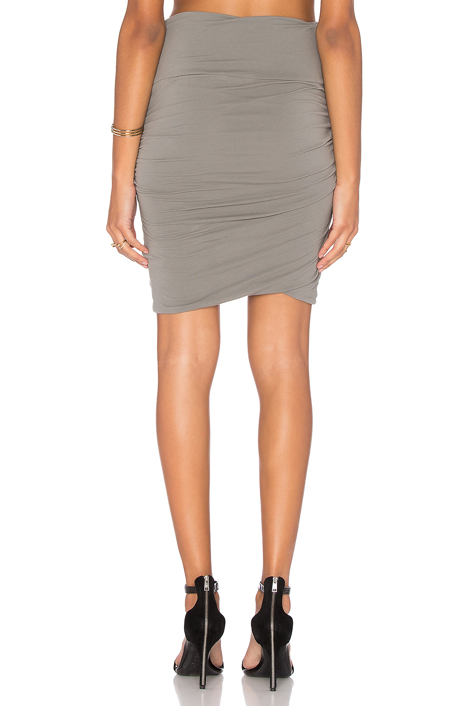 high waist wrap skirt in gray lyst