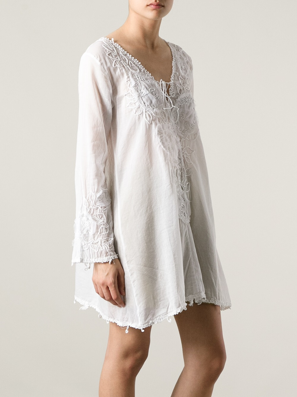 Lyst Emam 243 Embroidered Tunic Dress In White
