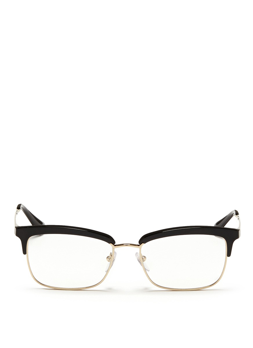 8fedb402cac Lyst - Prada Acetate Rim Metal Optical Glasses in Black
