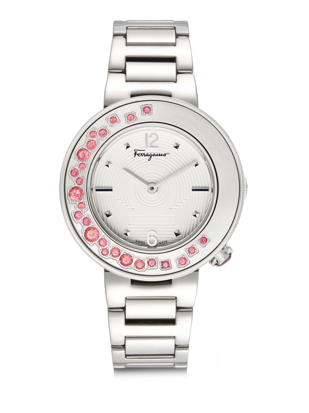 Ferragamo Topaz Bezel Stainless Steel Bracelet Watch In
