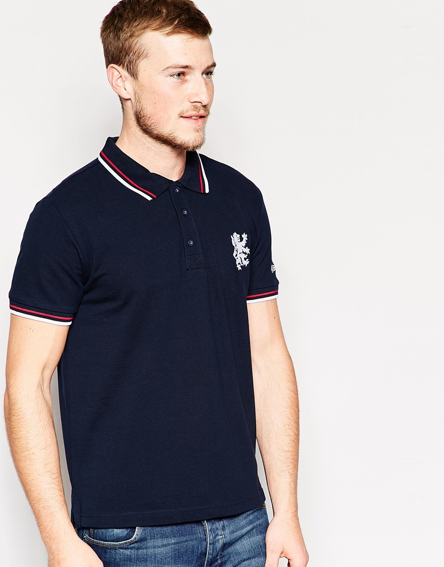 Lyst Lambretta Large Lion Logo Polo In Blue For Men