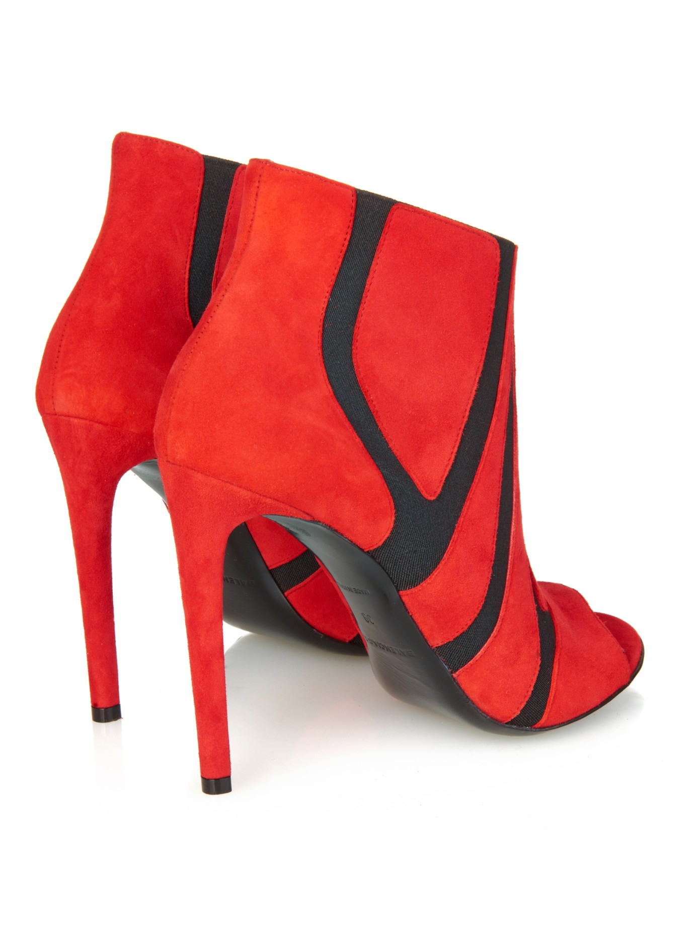Balenciaga Graphic Suede Ankle Boots in Red - Lyst 021d05701e4e
