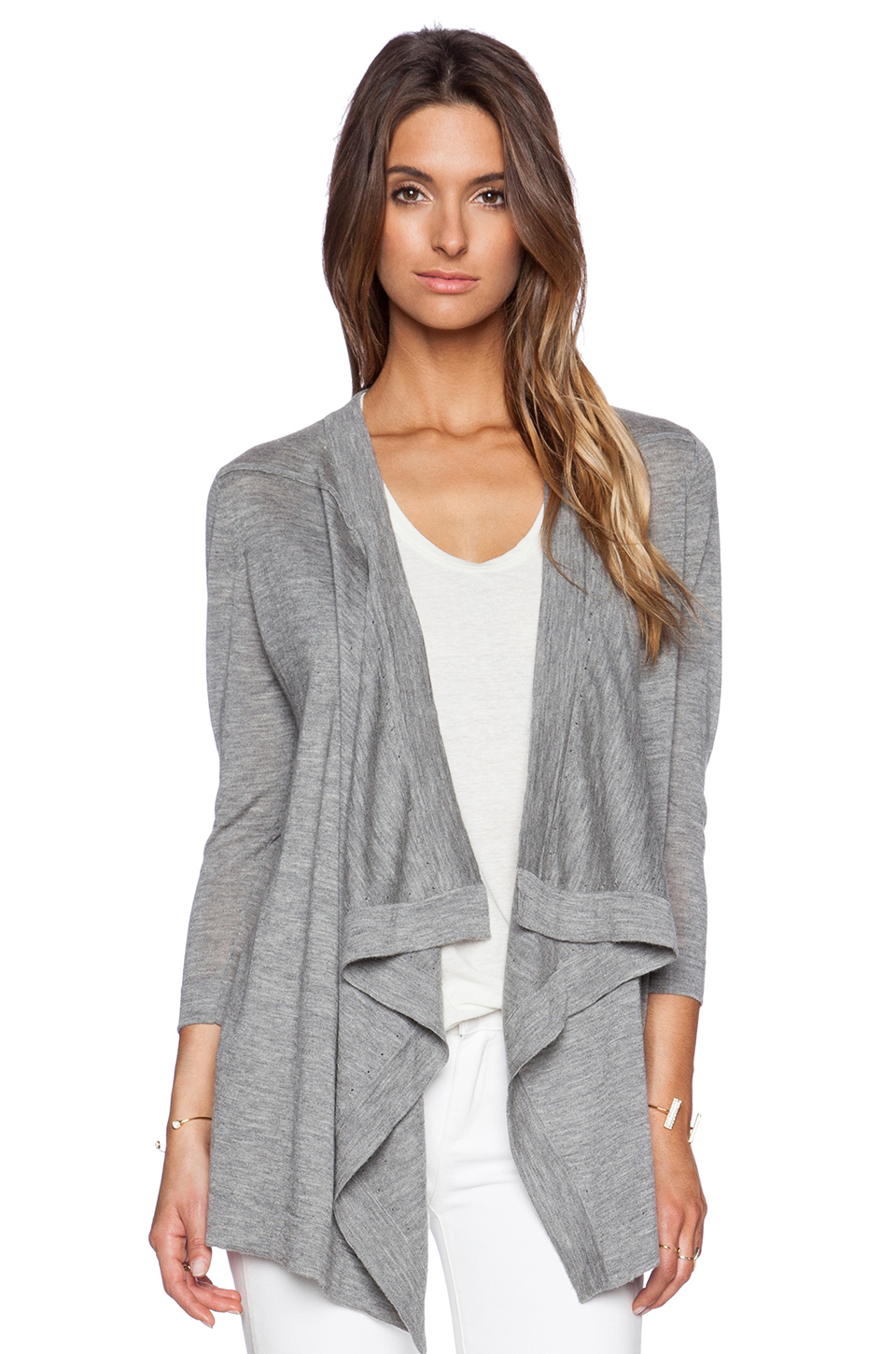 Autumn cashmere Waterfall Cardigan in Gray | Lyst