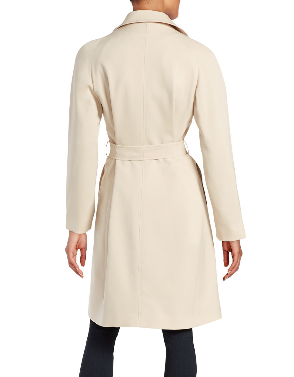 Cinzia Rocca Notched Lapel Trench Coat In Natural Lyst