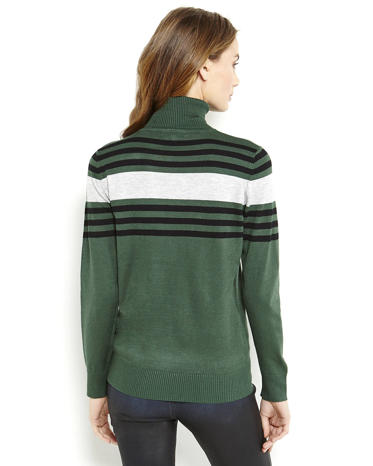 Joseph a Contrast Stripe Knit Turtleneck Sweater in Green | Lyst