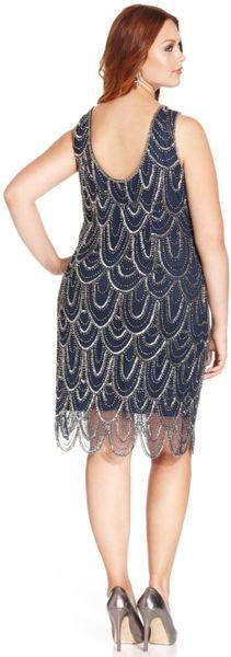 Pisarro Nights Plus Size Beaded Scallop Hem Dress In Blue