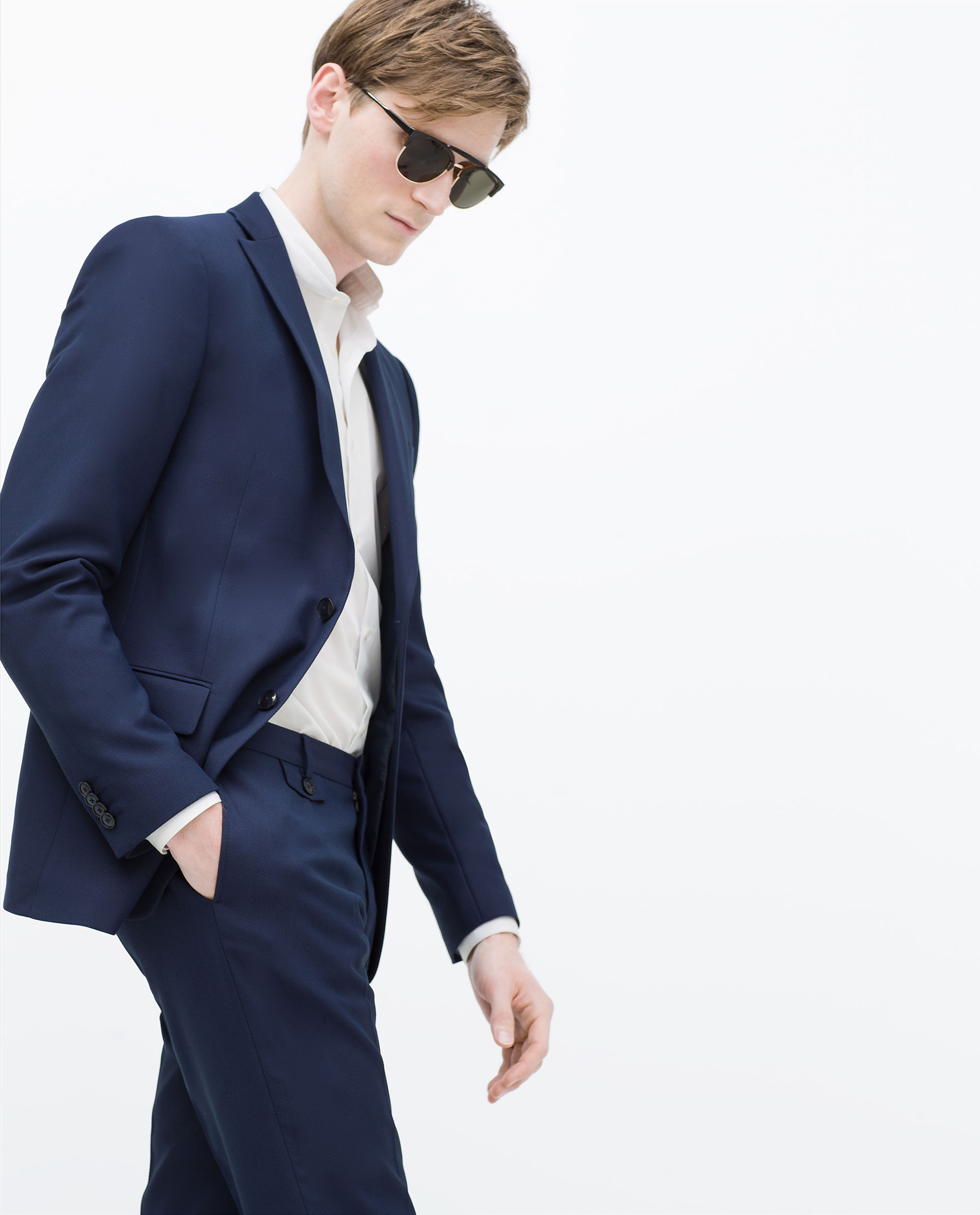 Zara Ink Blue Blazer in Blue for Men | Lyst