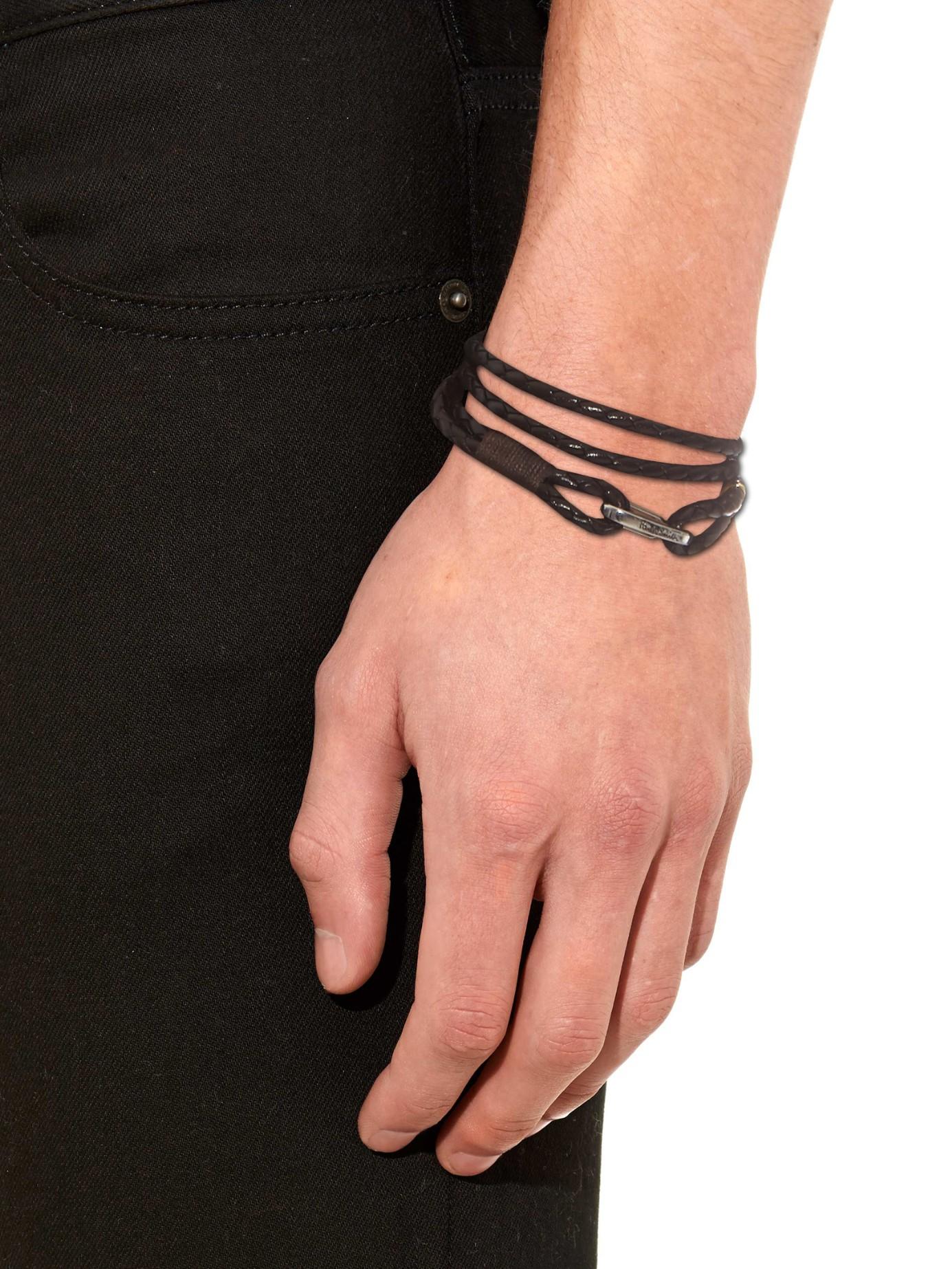 Paul Smith Braided leather double wrap bracelet z6YXN7