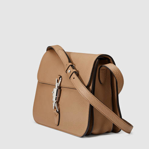 Gucci Jackie Soft Leather Shoulder Bag in Natural | Lyst