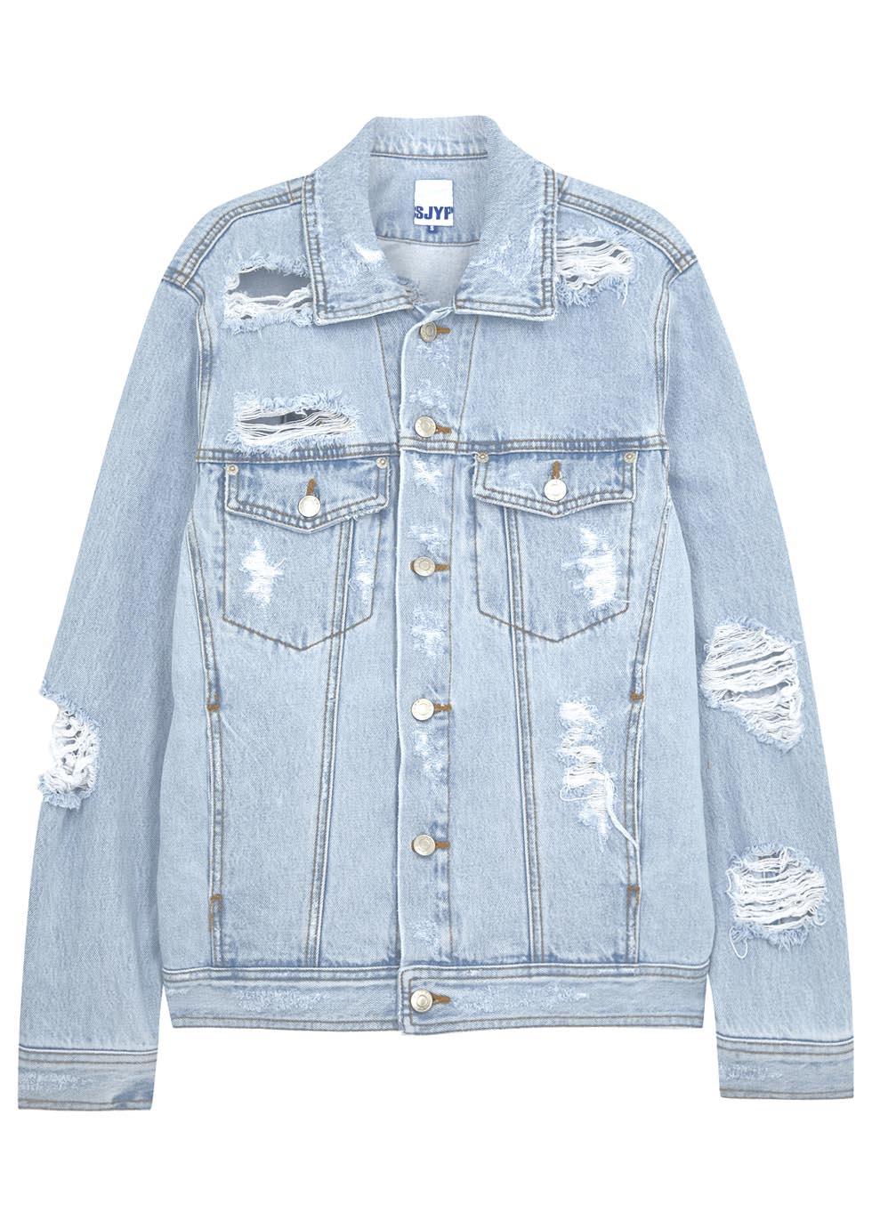 Sjyp Pale Blue Ripped Denim Jacket in Blue | Lyst