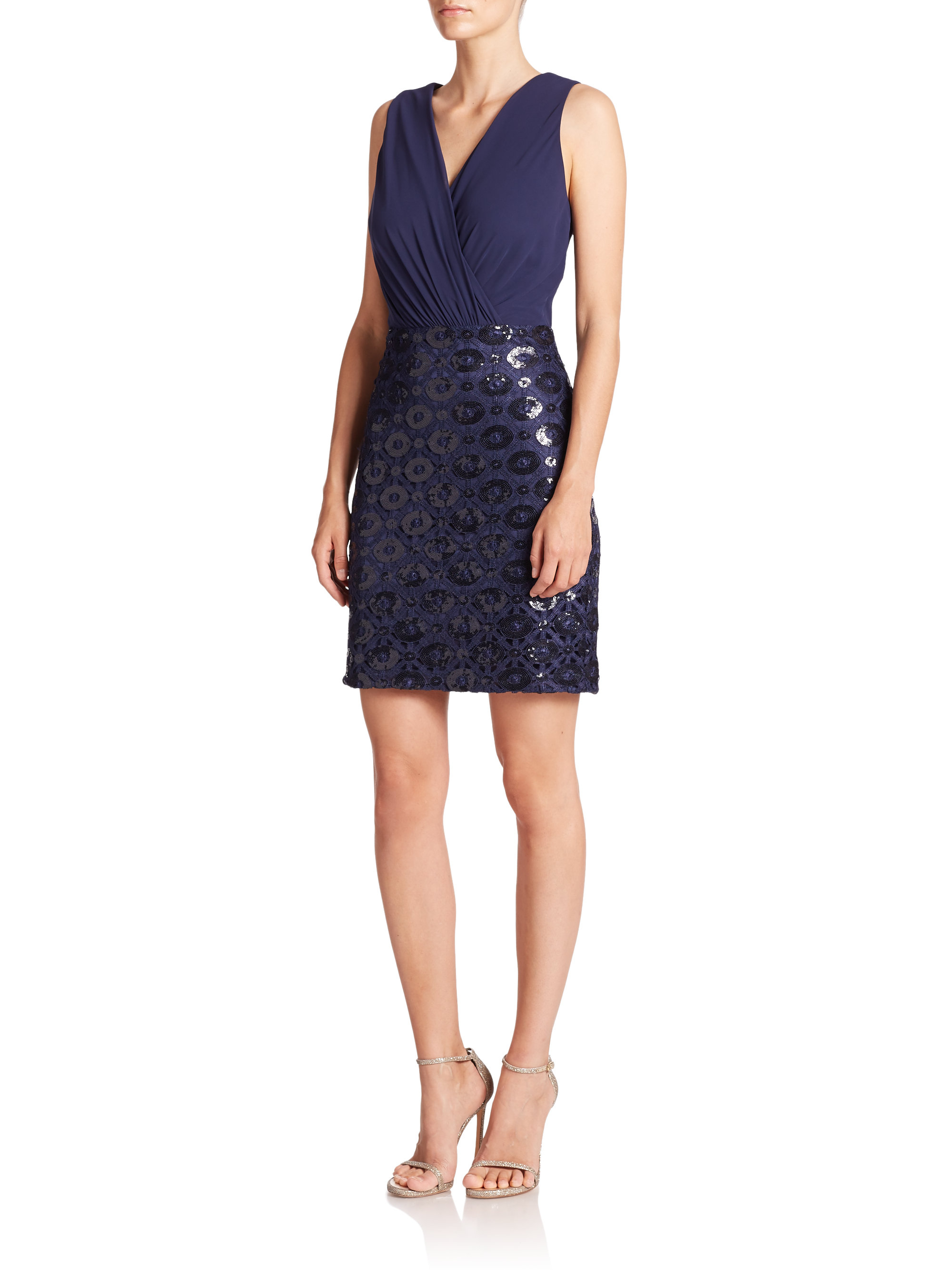 Lyst Laundry By Shelli Segal Chiffon Bodice Sequined