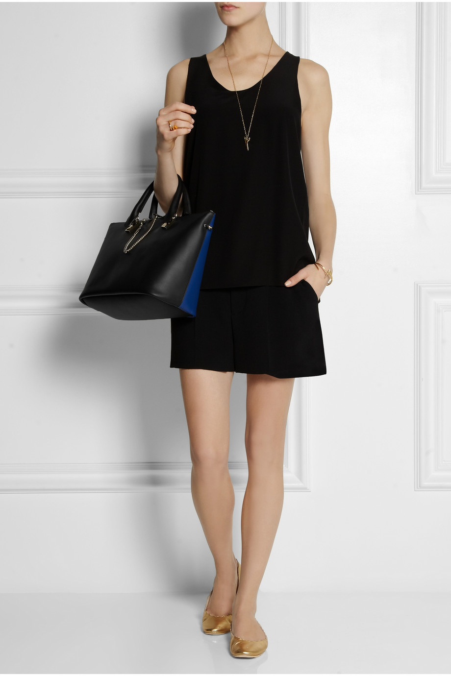 Chlo¨¦ Baylee Medium Twotone Leather Tote in Blue (Black) | Lyst