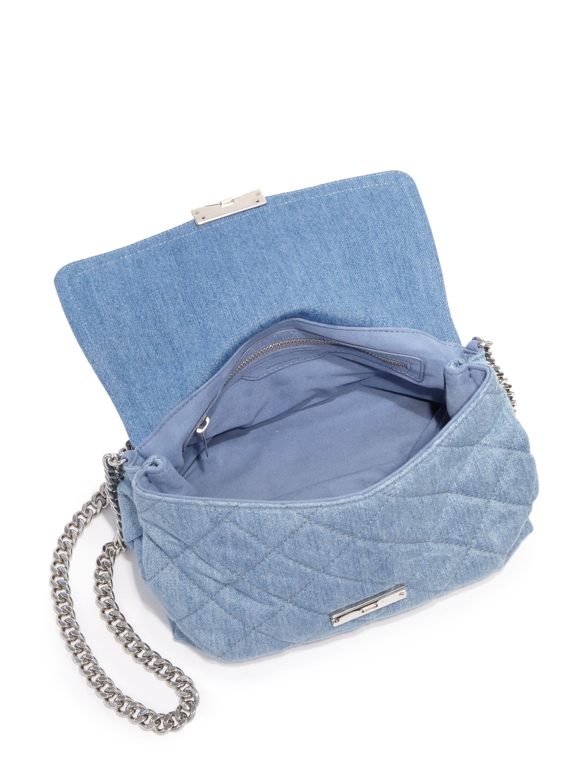 f92b57166d49 Lyst - Stella McCartney Soft Beckett Quilted Denim Shoulder Bag in Blue