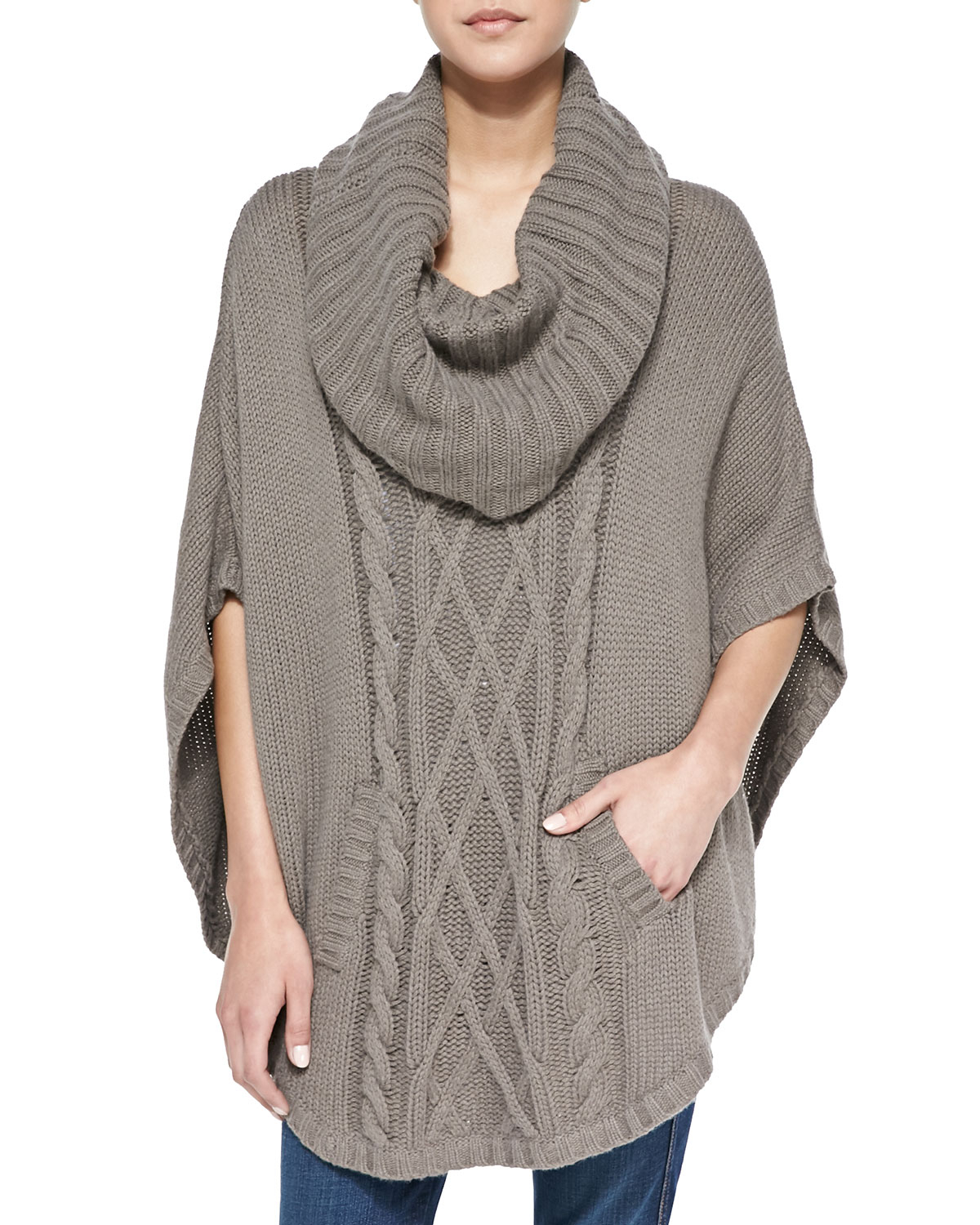 Cowl Neck Poncho Knitting Pattern : Autumn cashmere Cable-knit Cowl-neck Cashmere Poncho in Gray Lyst