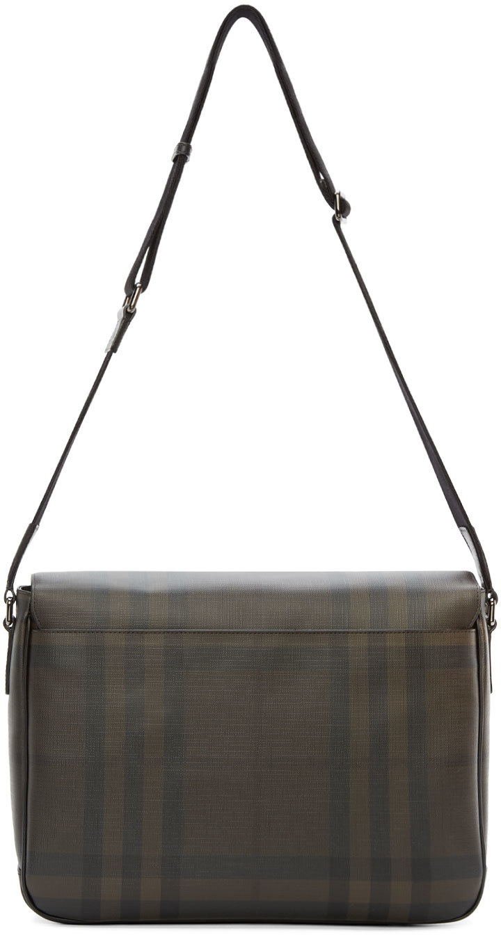 0bf0e2a155bc Lyst - Burberry Brown Smoked Check Messenger Bag in Brown for Men