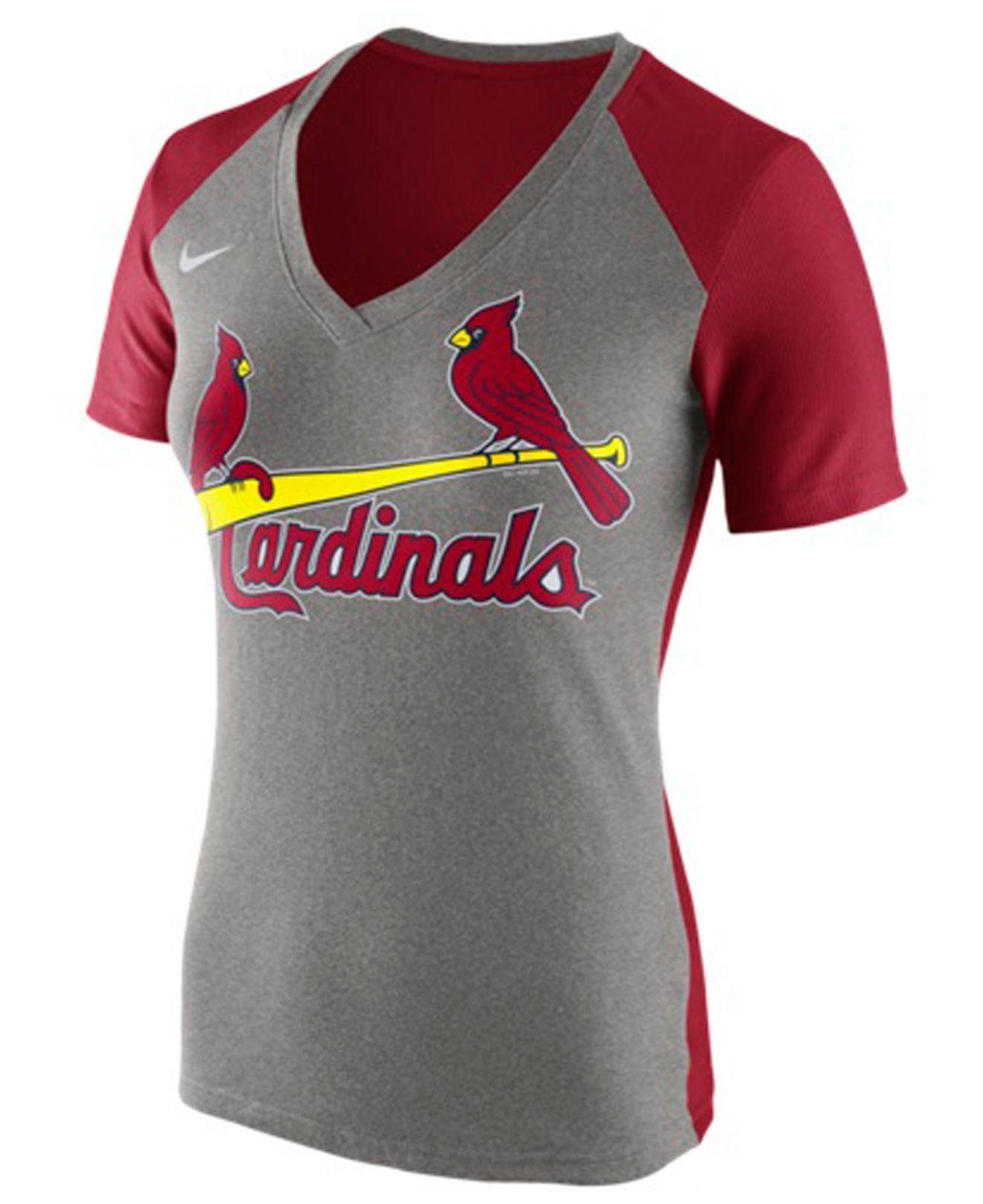Nike women 39 s st louis cardinals fan t shirt in gray lyst for St louis t shirt printing