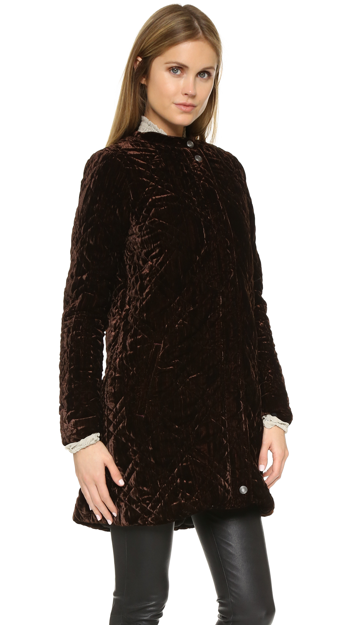 Lyst Free People Quilted Velvet Jacket In Brown