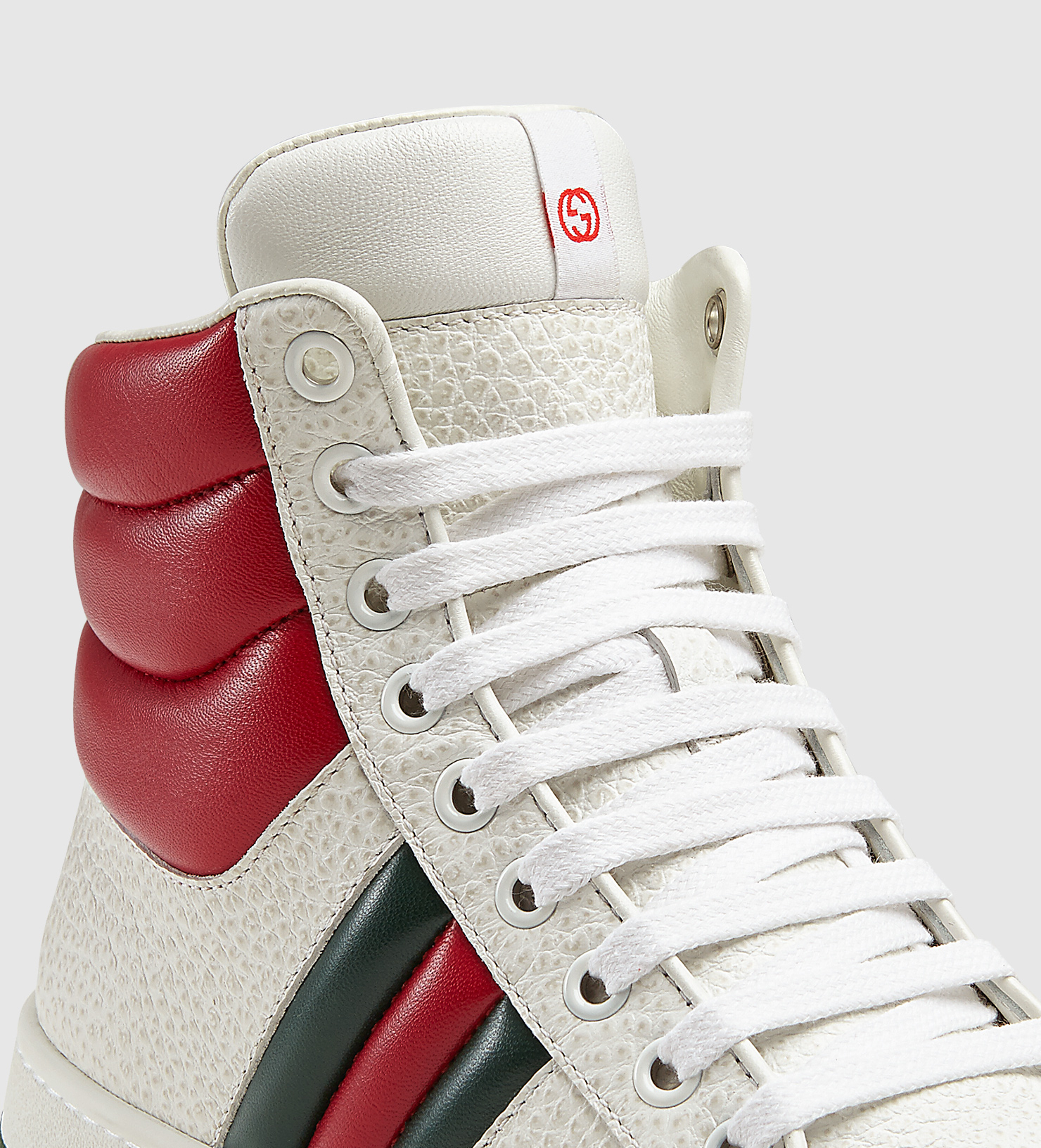 dc96b80d7 Lyst - Gucci Contrast Padded Leather High-top Sneaker in Red