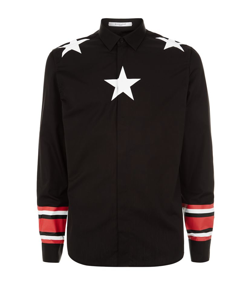 Lyst givenchy star print shirt in white for men for Givenchy 5 star shirt