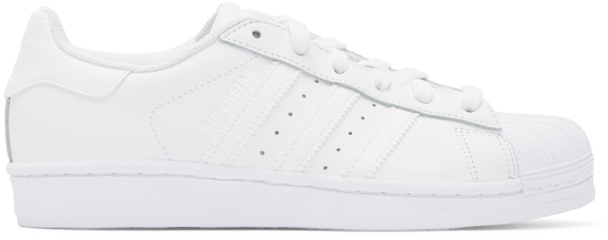 obslz Adidas originals Superstar 80s White Leather Trainers in White for