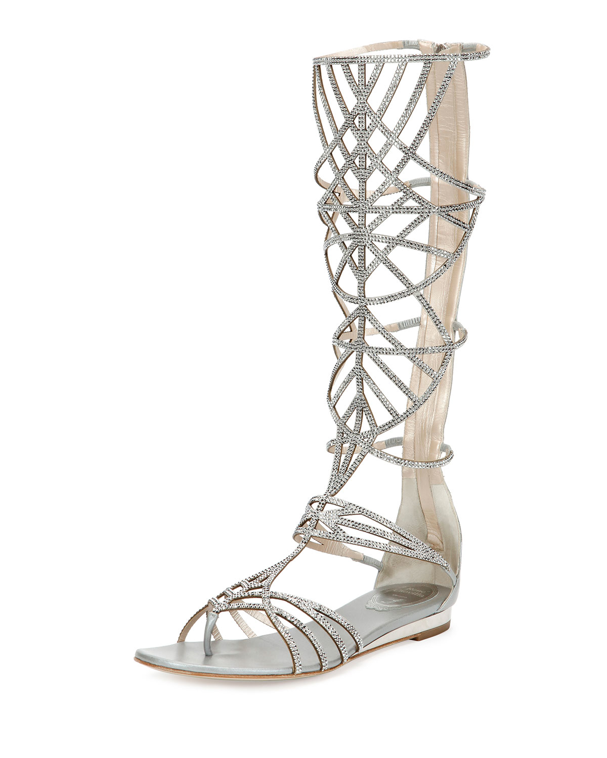 3554a6315dc065 Lyst - Rene Caovilla Crystal-Embellished Gladiator Sandals in Metallic