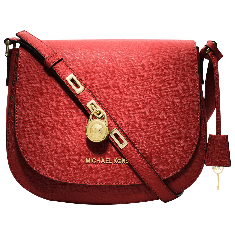 MICHAEL Michael Kors Hamilton Large Messenger Handbag in Red - Lyst 18b37fd6bfebb