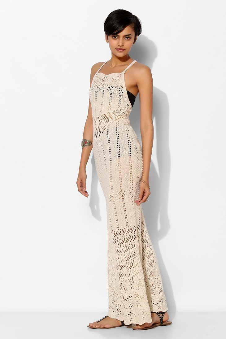 Lyst Ecote Sheer Crochet Maxi Dress In Natural