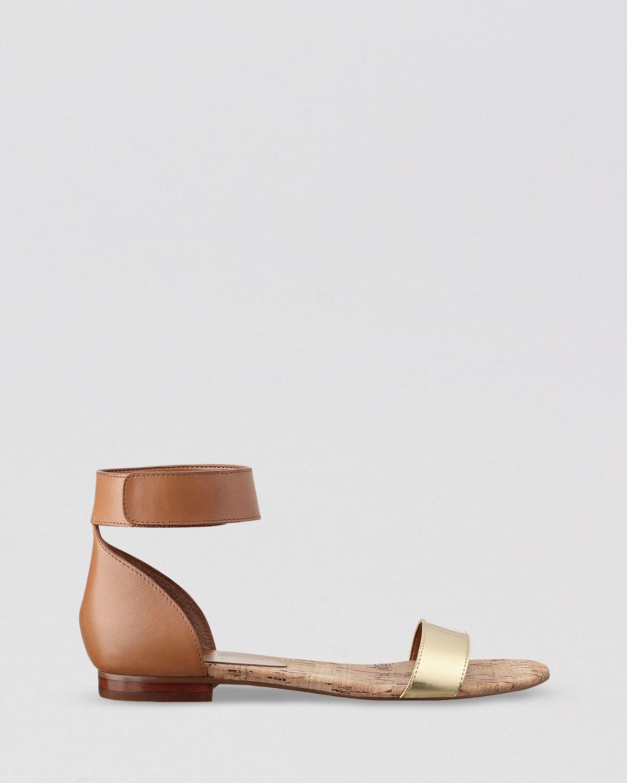 8c0983f6bfd6 Ivanka Trump Flat Open Toe Ankle Strap Sandals Sunny in Metallic - Lyst