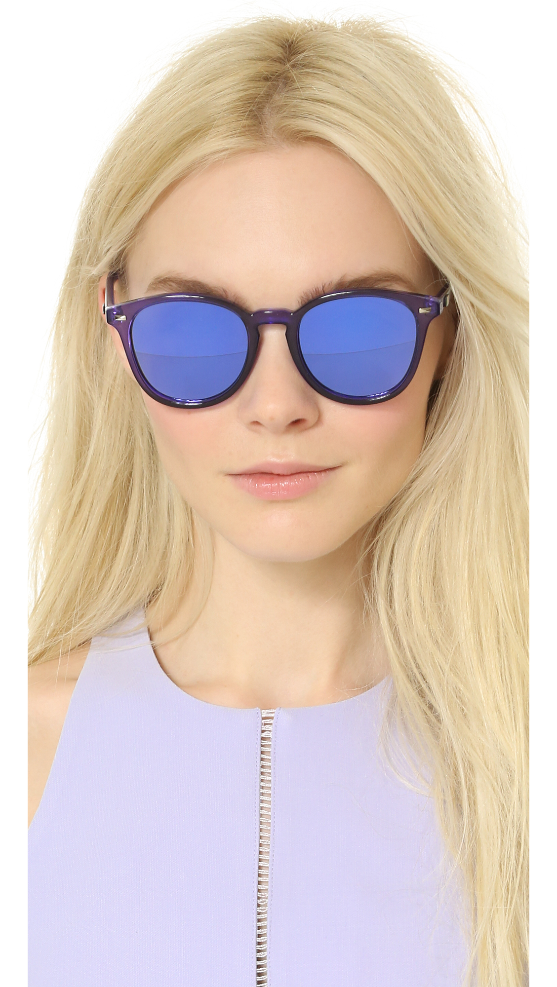03414d3e9dc Le Specs Bandwagon Sunglasses - Ultraviolet purple Revo Mirror in ...