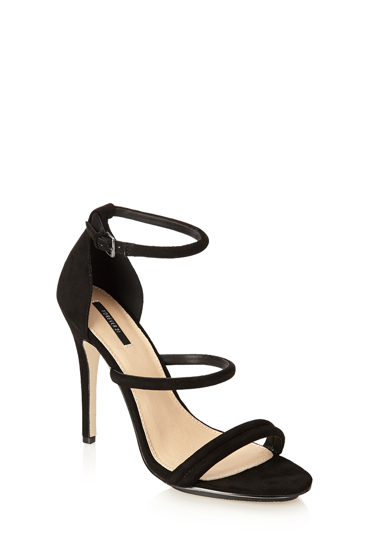 453d24236514 Lyst - Forever 21 Faux Suede Strappy Sandals in Black