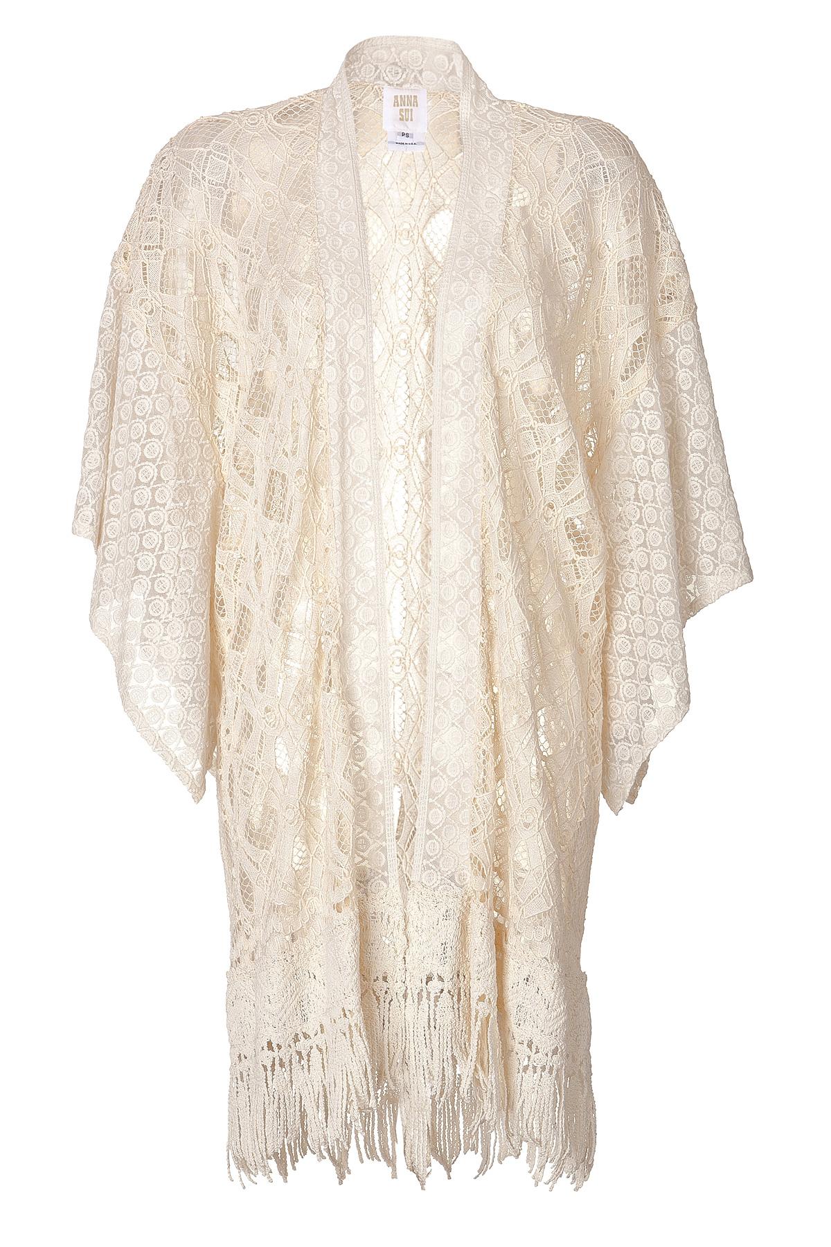 Lace Kimono Knitting Pattern : Anna Sui Lace Crochet Knit Kimono in White Lyst