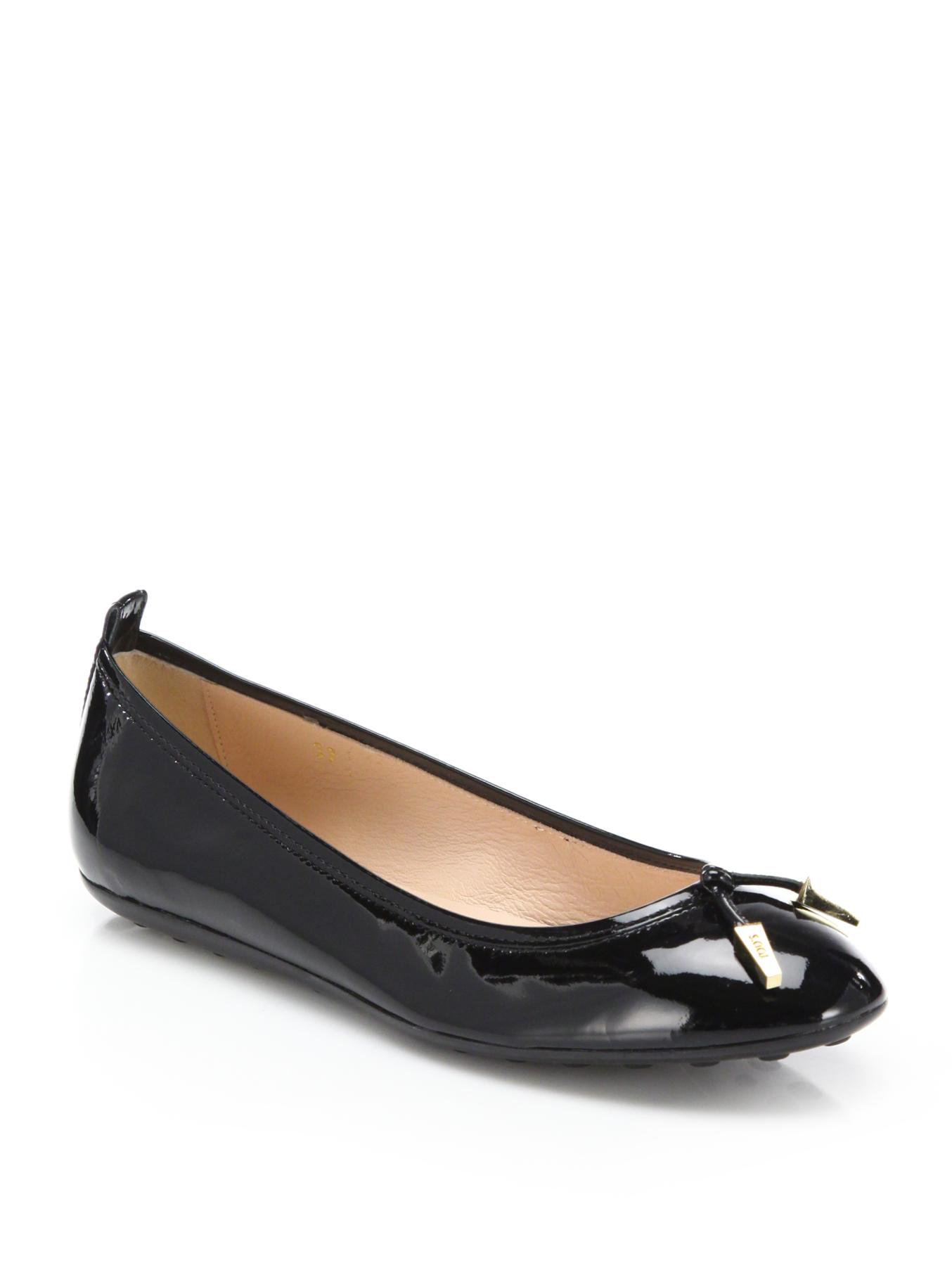 Tod S Patent Leather Ballet Flats In Black Lyst
