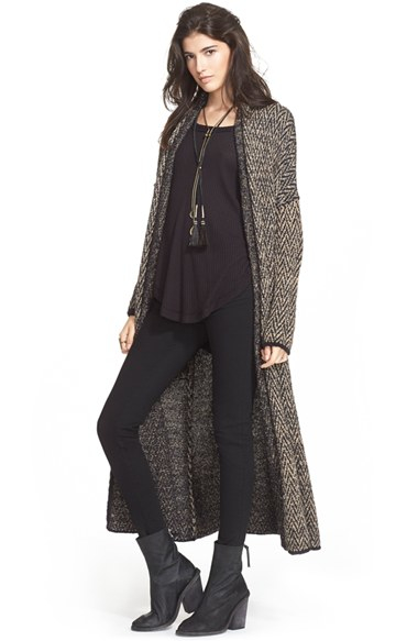 Free people Long Sweater Coat in Black | Lyst