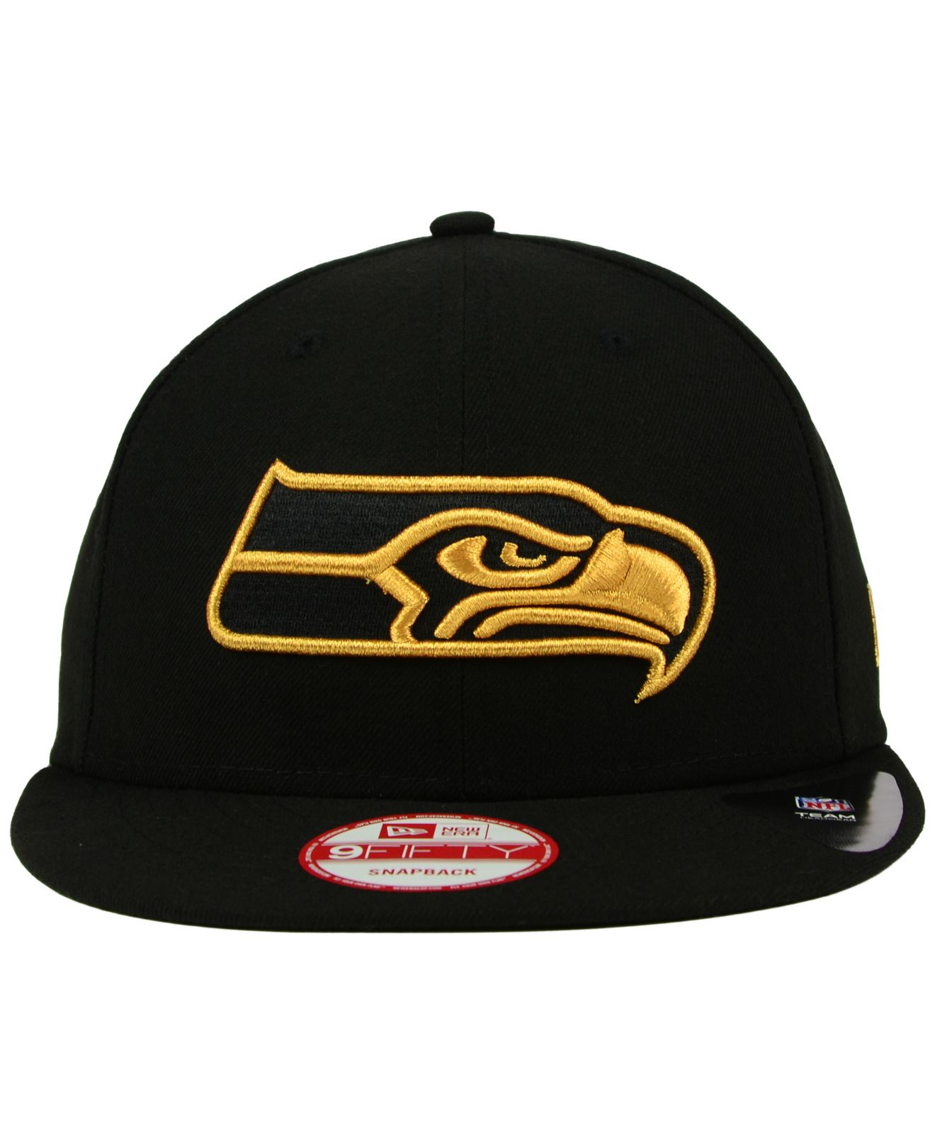 Lyst - KTZ Seattle Seahawks Black Metallic Gold 9fifty Snapback Cap ... cc308d6279e