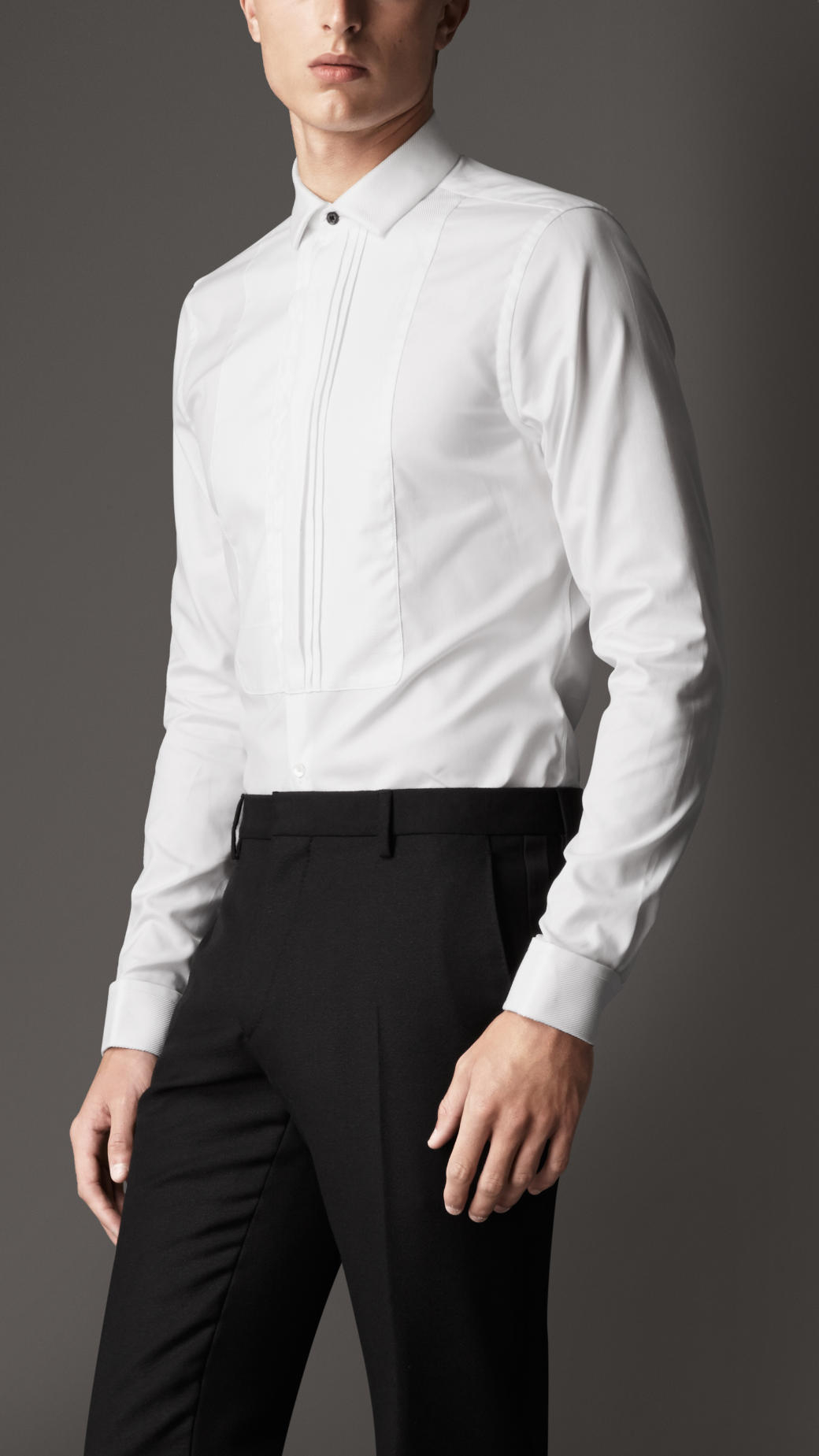 Lyst Burberry Slim Fit Cotton Dress Shirt In White For Men