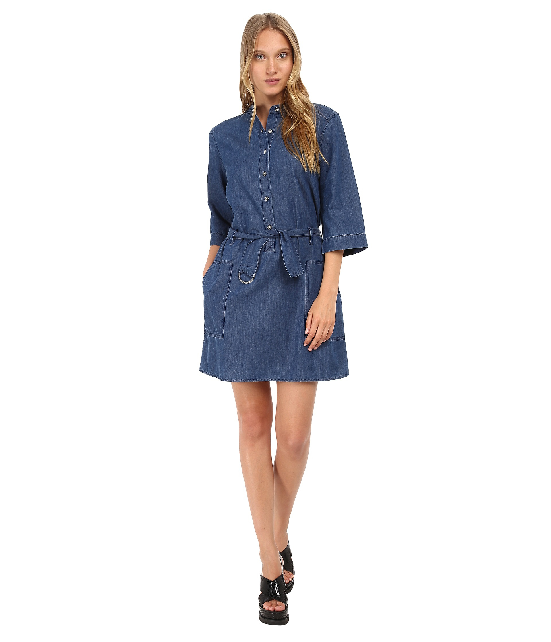 Lyst marc by marc jacobs cotton silk indigo light weight for Chambray dress
