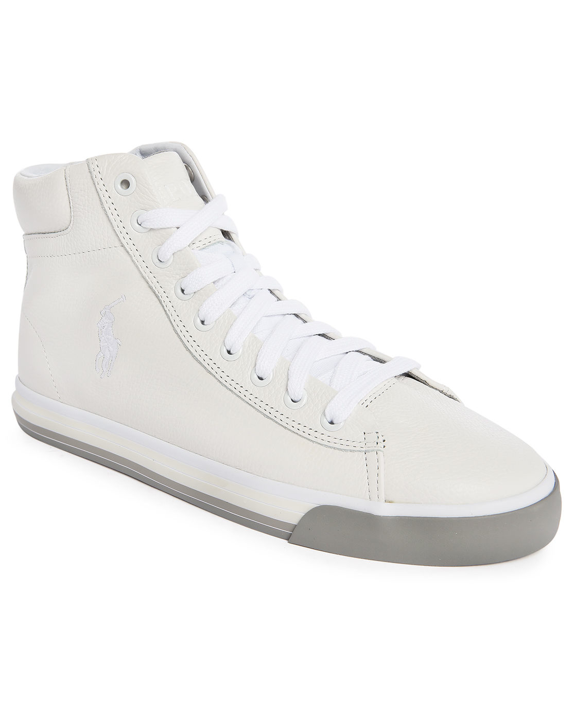 polo ralph harvey white leather mid sneakers in white for lyst