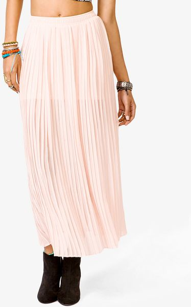 forever 21 accordion pleated maxi skirt in pink blush lyst