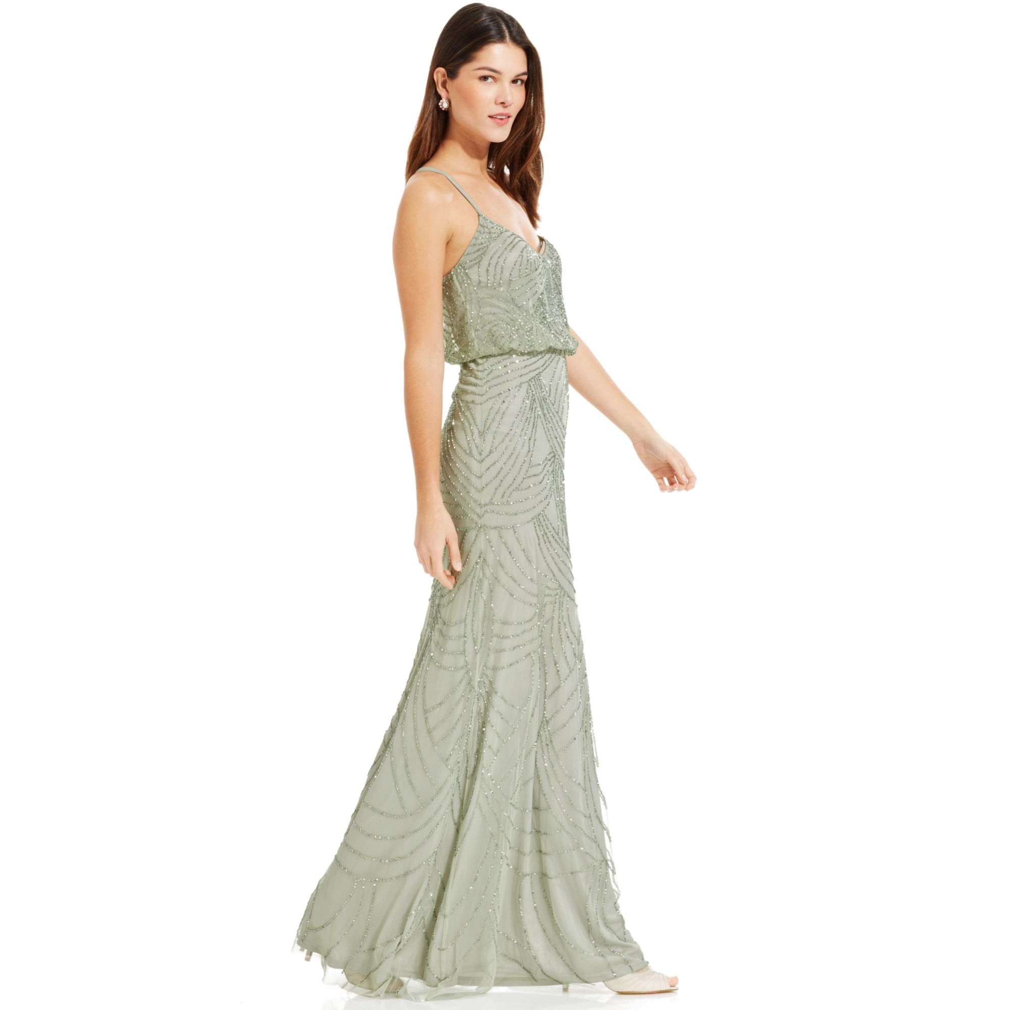 Adrianna papell sleeveless beaded blouson gown in green lyst for Adrianna papell wedding guest dresses