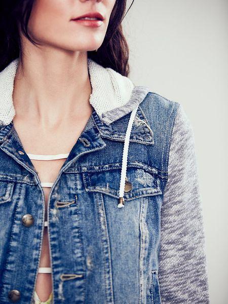 Free Knitting Pattern Hood Jacket : Free People Knit Hooded Denim Jacket in Gray (Blue) Lyst