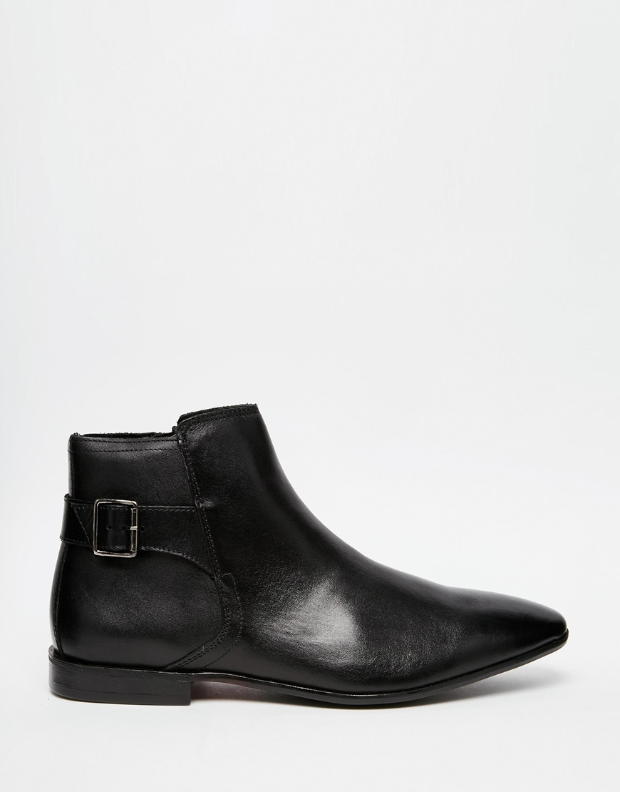 asos zip boots in black leather in black for lyst