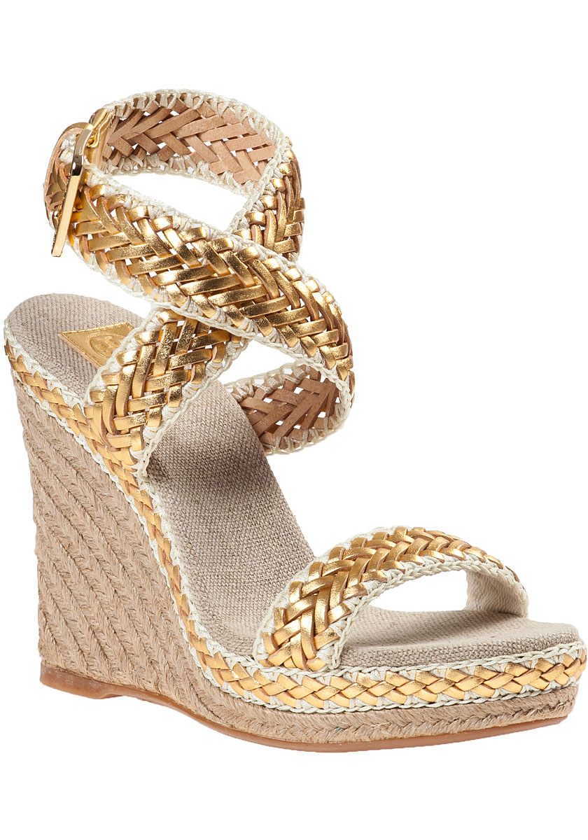 d0922747580e0 Lyst - Tory Burch Lilah Wedge Espadrille Gold Leather in Metallic